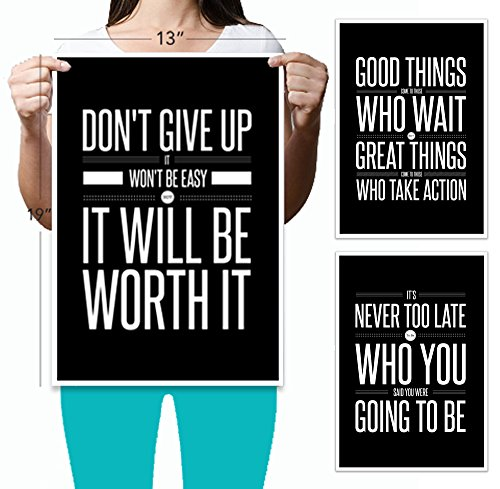 Don't Give Up 3 Poster Set Motivational Inspirational Quote Wall Workout Sports Art – Black & White Boy Girl Teen Fitness Wall Home Decor Office Classroom Dorm Room Gym Entrepreneur (13x19)