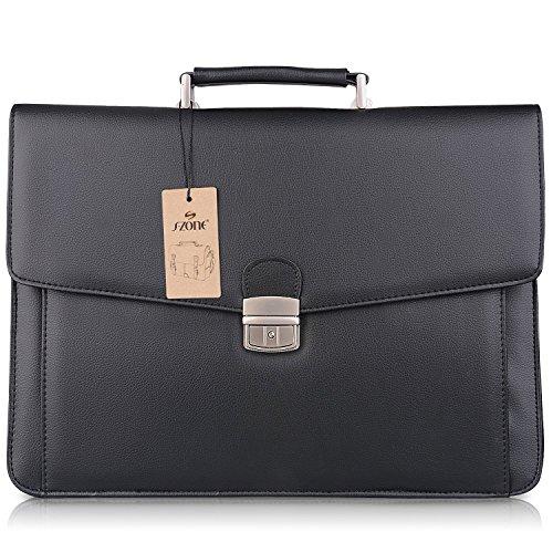 S-ZONE Mens Microfiber Leather Briefcase Messenger Bag Laptop Bag