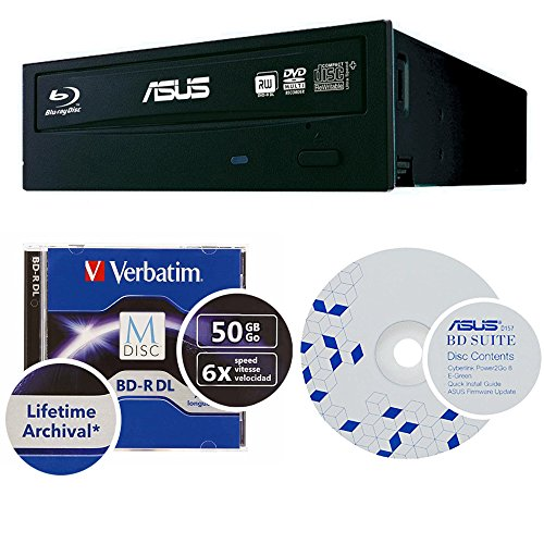 Asus 16x BW-16D1HT Internal Blu-ray Burner Bundle with 50GB Verbatim M-Disc BD-R DL, BD Suite Disc and Cable Accessories