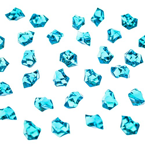 Super Z Outlet Acrylic Color Ice Rock Crystals Treasure Gems for Table Scatters, Vase Fillers, Event, Wedding, Arts & Crafts, Birthday Decoration Favor (190 Pieces) (Turquoise) -
