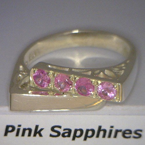 (Pink Sapphire Ladies Handmade Sterling Silver Filigree Overlapping Ring size)