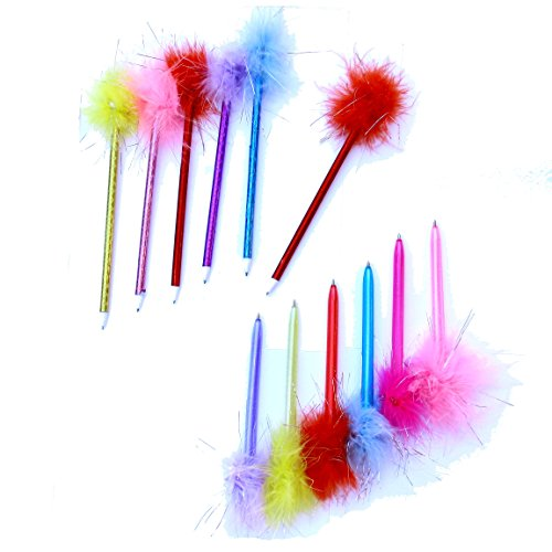 24 Pack Feather Pens | Back to School Assorted Color Marabou Pens | Dazzling - Notepad Peacock Feathers