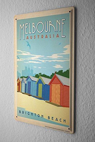 Tin Sign Deco City Melbourne Australia Brighton Beach beach huts - Stores Melbourne City Beach
