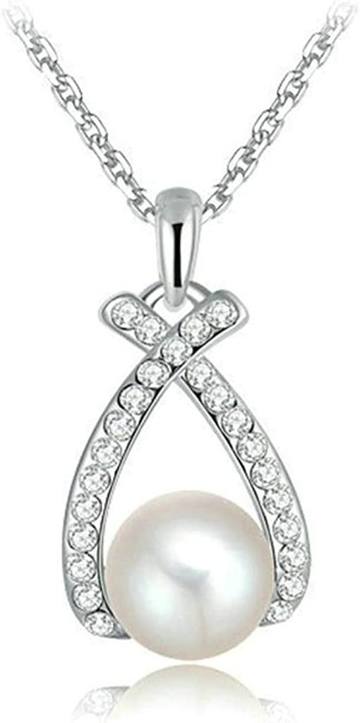 Epinki Silver Plated Necklace for Women Cubic Zirconia Heart Shape with Pearl Silver Pendant Necklace