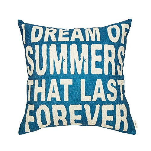 Fahrendom I Dream of Summers That Last Forever Seasonal Quote Cotton Linen Home Decorative Throw Pillow Case Cushion Cover with Words for Summer Lover Sofa Couch 18 x 18 in
