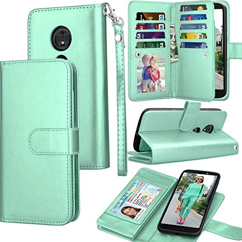 Moto E5 Plus Case, Motorola Moto E5 Supra Wallet Case, Tekcoo Luxury ID Cash Credit Card Slots Holder Purse Carrying PU Leather Folio Flip Cover [Detachable Magnetic Hard Case] & Kickstand - Turquoise
