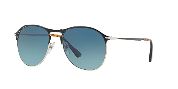 3be0499169e95 Persol Mens Sunglasses Black Matte Blue Metal - Polarized - 56mm