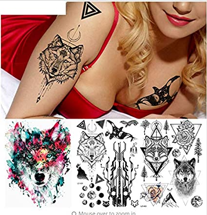 ruofengpuzi Adesivo tatuaggioCircuito Árbol Fox Lobo Tatuaje Arte ...