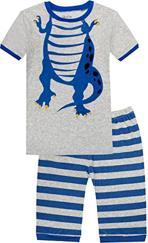 (shelry Boys Pajamas 100% Cotton PJs Dinosaur Sleepwear for Kids 2 Piece Short Sets Size 6 Years)