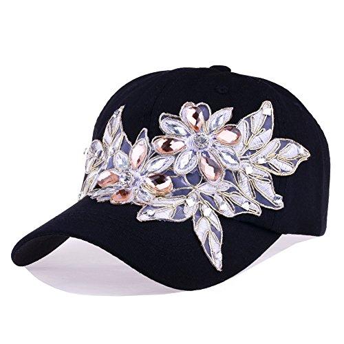 (Black Baseball Cap Women Lace Bling Flower Rhinestone Snapback Hip Hop Hat (Black))