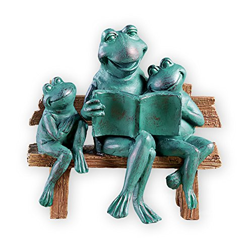 Collections Etc Tell Me A Story Frogs on Bench Verdigris Finish Garden Statue Decoration by Collections Etc