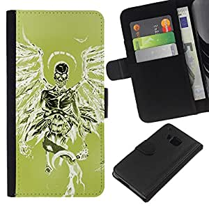 All Phone Most Case / Oferta Especial Cáscara Funda de cuero Monedero Cubierta de proteccion Caso / Wallet Case for HTC One M7 // Green Death Angel Green Wings Skull