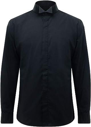 Dobell Camisa de Vestir Negra, Cuello Punta de ala, Delantera Lisa: Amazon.es: Ropa y accesorios