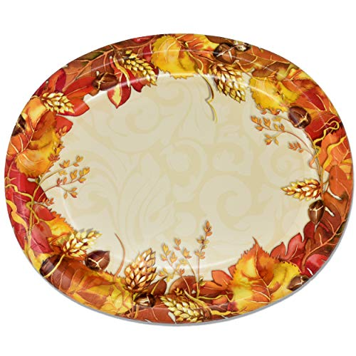 "50 Count Thanksgiving Oval Plates 10"" X 12"" Paper Disposable Dinner Autumn Fall Harvest Platters Party Set Goods Holiday Decorations Dinnerware Wedding Event Supplies Giving Thanks by Gift Boutique"