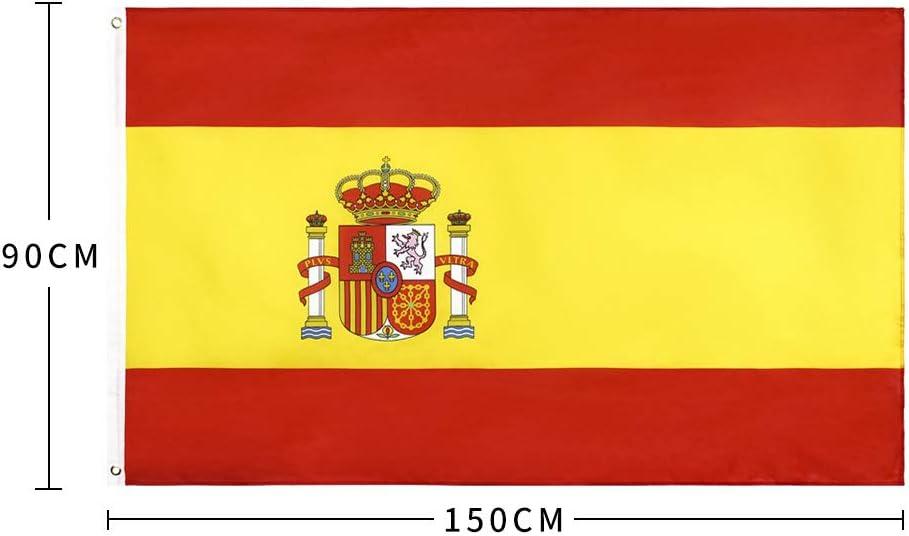 Bandera España Grande, Bandera de España, Costuras Dobles Bandera España, con 2 Ojales Metálicos, Resistente a la Intemperie, 90 x 150cm Bandera del reino de españa: Amazon.es: Jardín
