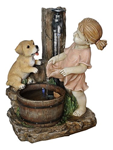 Alpine Girl With Dog Spout Bucket Fountain, 20