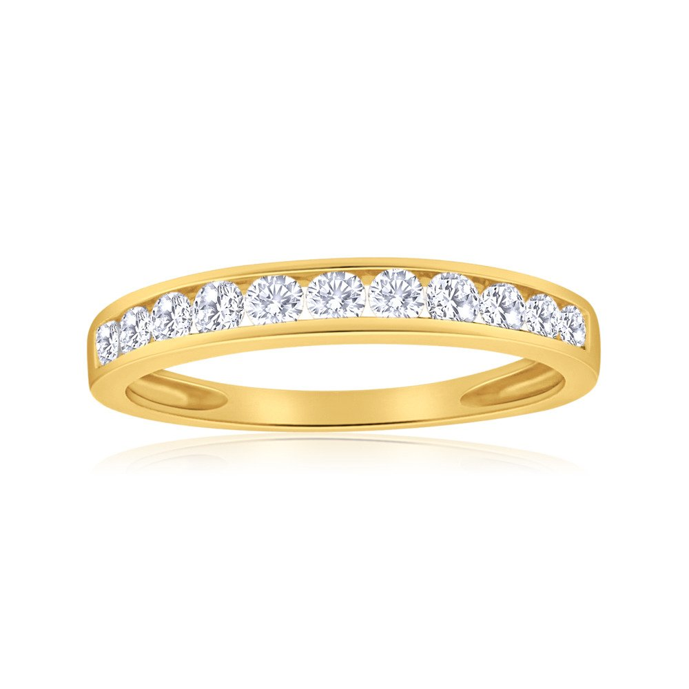 1/2ctw Diamond Channel Wedding Band in 10k Yellow Gold