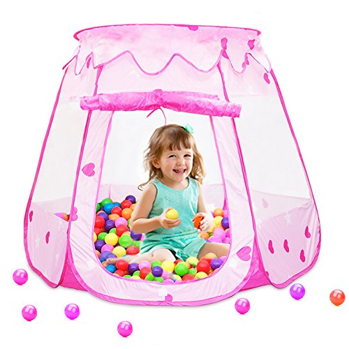 Cheapest Price! Meland Kids Ball Pit Tent - Easy Folding Pink Playhouse Ball Tent with Storage Bag (...