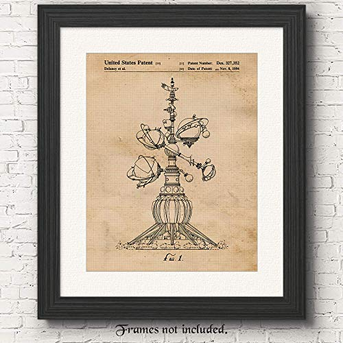 - Original Disney Astro Orbiter Ride Patent Poster Prints - Set of 1 (One 11x14) Unframed Picture - Great Wall Art Decor Gifts Under $15 for Home, Office, Studio, Showroom, Man Cave, Amusement Park Fan