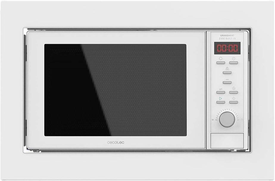 Cecotec Microondas encastrable digital GrandHeat 2350 Built-In White. 900W, Capacidad 23l, Grill, 9 Funciones preconfiguradas, Quick Start, Temporizador, Diseño elegante