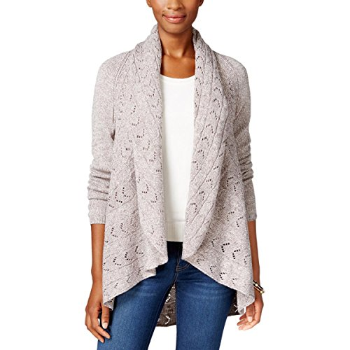 Karen Scott Womens Open Front Shawl Collar Cardigan Sweater Gray L