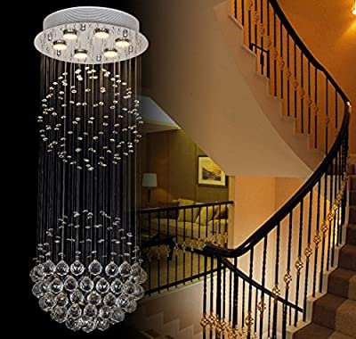 Lumos 6 Lights Fancy/Modern Contemporary Chandelier Rain Drop Helix Fixture Lighting with Crystal Balls for High Foyer Hallway/Living Room ...