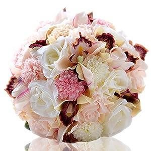 Zebratown 9.5'' Silk Wedding Bouquet Wedding Flowers Keepsake Bouquet Bridal Bouquet Coral Rose and Pink Hydrangea Wedding Bouquet (Pink) 105