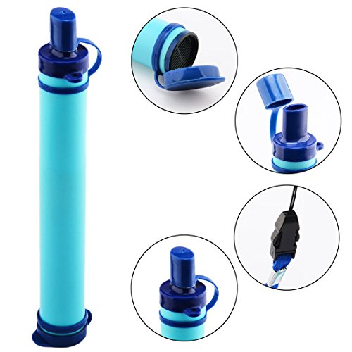 Water Filter, Petforu ABS + High Polymeric Iodine Filter Material Outdoor Water Purifiers Personal Portable Filter Drinking Pipe for Hiking,Cycling,Travel,Fishing,Outdoor Adventure,Camping - Blue (Inline Outdoor Water Filter compare prices)