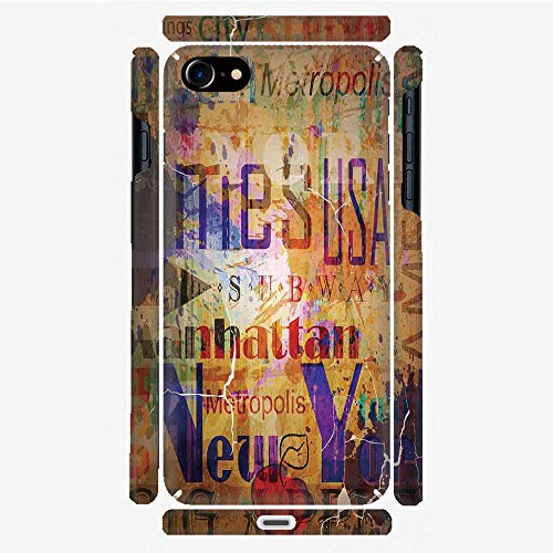 Phone Case Compatible with 3D Printed iPhone 7/iPhone 8 DIY Fashion Picture,Artsy Montage of NYC Letters on Magazine Cover,Personalized Designed Hard Plastic Cell Phone Back Cover Shell -