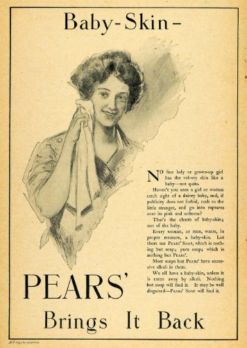 1903 Ad Baby Skin Lady Pears Soap Unilever Oldest Brand - Original Print Ad