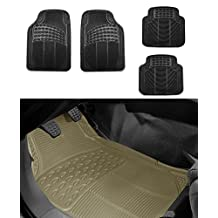FH Group Full Set 4 pcs Trimmable Rubber Floor Mats Black