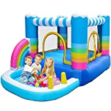 MEIOUKA Rainbow Inflatable Bounce House Jumper with 350W Blower Inflatable Ball Pool Colorful Inflatable Bouncing House for Kids Outdoor Indoor Party Play Toys