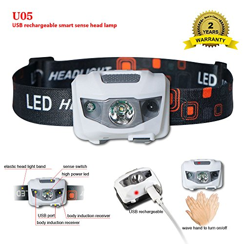 U05 USB Rechargeable LED Headlamp, 160 lumens Super Bright light 3 Modes ,Smart Sense,Waterproof flashlight with built in battery for reading running hiking camping cycling fishing repair (white)