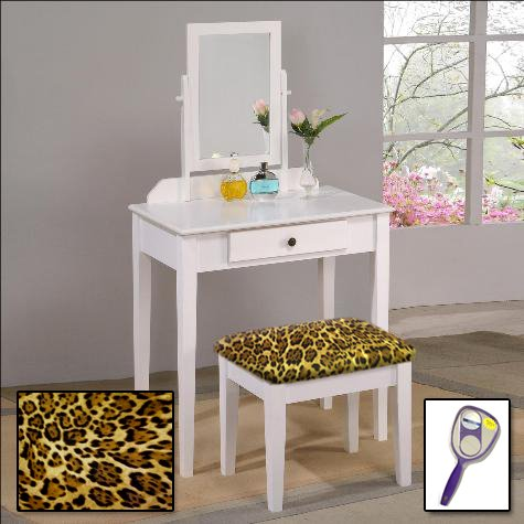 New White Finish Make Up Vanity Table with Mirror & Leopard Animal Print Themed Bench by The Furniture Cove