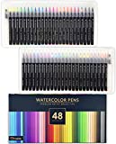 Gift Box : 48 Premium Watercolor Brush Pens, Highly Blendable, No Streaks, Water Color Markers, Unbelievable Value, Water Brush Pen, for Beginner to Professional Artist