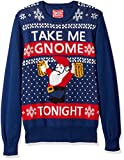 Hybrid Men's Take Me Gnome Tonight Ugly Christmas Sweater, Navy, X-Large
