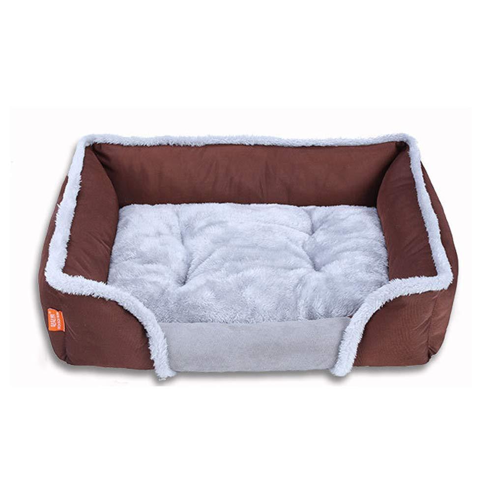 Brown Large Brown Large Pet Dog Beds Winter Thick Warm Cotton Velvet Square pet nest