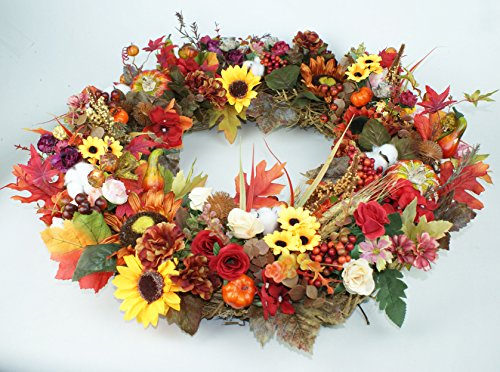 Pumpkin Wreath Harvest Silk Front Door Wreath Large Fall Wreath for Halloween&Thanksgiving 24 Inches by Forevercute (Image #4)
