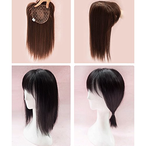 BESTLEE 14 inch Synthetic Hair Natural Straight Mono Hair Topper Top Piece with Bangs (Thick Style, Natural Black) - Head Topper