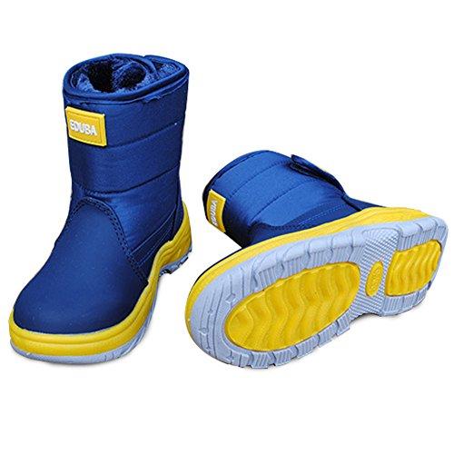 KVbaby Kinder Mode Schneestiefel Winter Warm Gummistiefel Schlupfstiefel Wasserdicht Snowboots Anti-Slip Schuhe mit Klettverschluss für Jungen Mädchen Blau