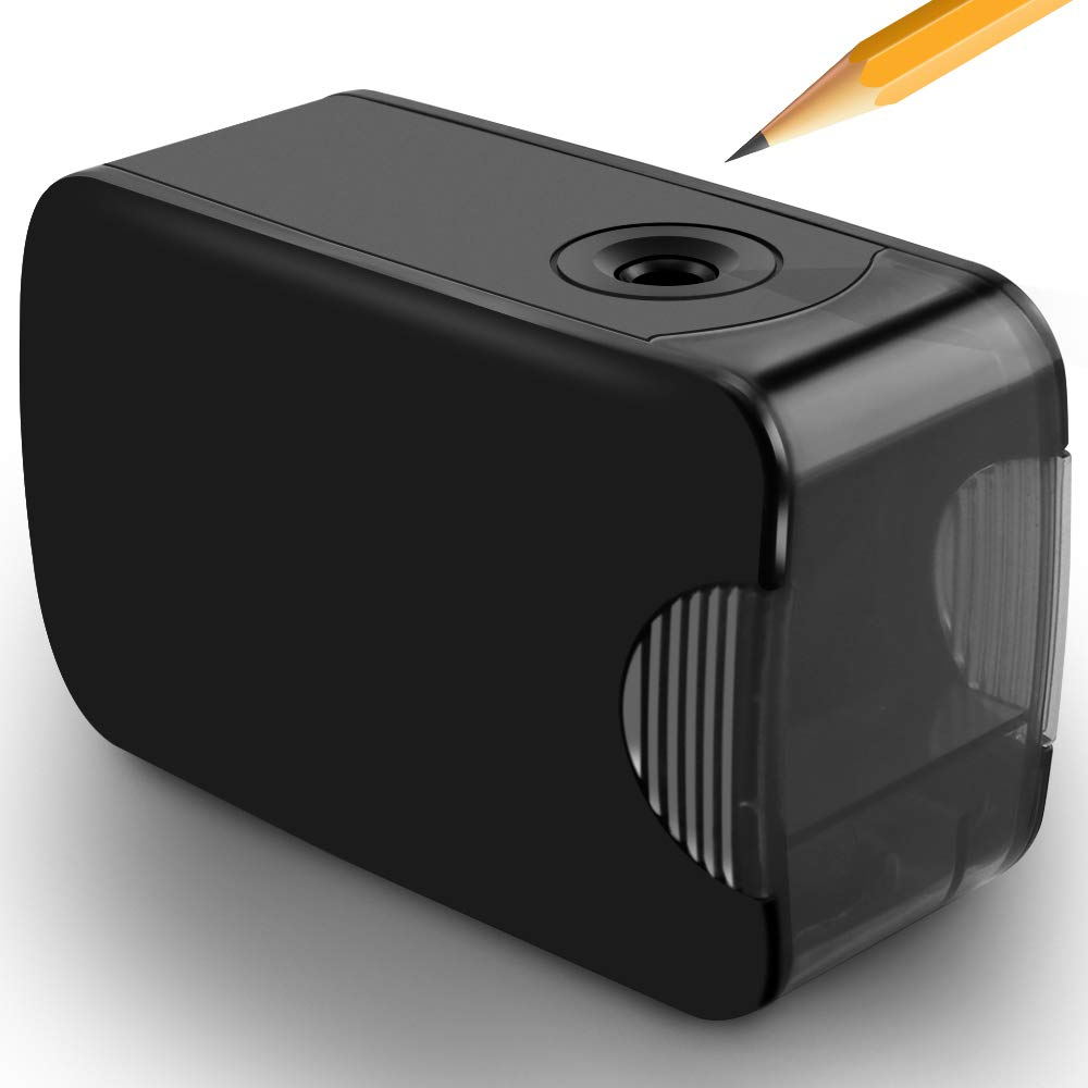 Pencil Sharpener, Aufun Professional Portable Electric Pencil Sharpener; Auto Sharpening/Safety Design/Small & Durable/Battery & USB Powered, for Kids, Classroom, Office - Black