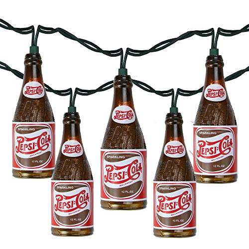 - 10 Vintage Pepsi Bottle Novelty Christmas Lights - 12 ft White Wire