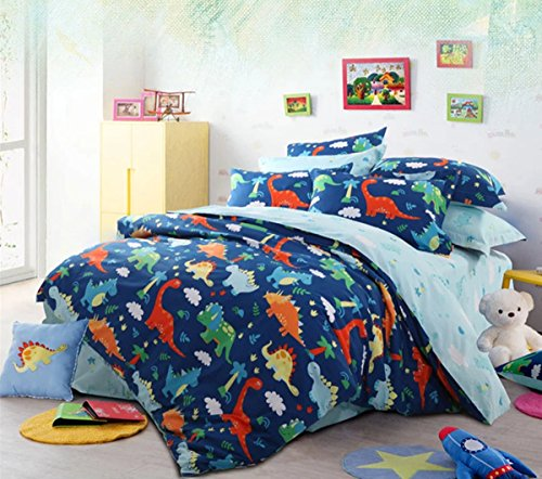 HNNSI 4 Piece Cotton Dinosaur Kids Boys Bedding Sets Queen Size, Dinosaur Kids Duvet Cover with Fitted Bed Sheet, Dinosaur Quilt /Comforter Cover for Children Teens (Queen, Fitted Sheet Set) by HNNSI (Image #4)