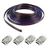 one direction you tube - Nexlux 4 Pcs LED 5050 Waterproof RGB Strip Light Connector 4 Conductor 10 mm Wide Strip to Strip Jumper,16.4ft 10m RGB Extension Cable Line