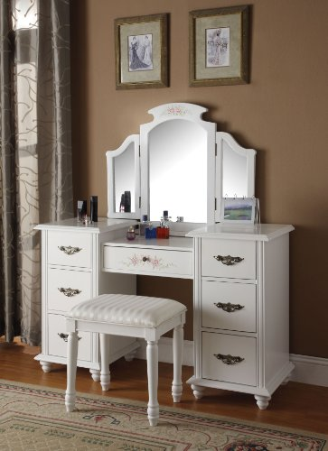 ACME 90026 2-Piece Torian Vanity Set, White