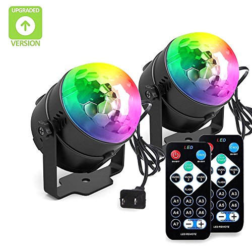 [2-PACK]BLISSO Party Lights Sound Activated Disco Ball Strobe Light,Xmas Party Lights,7Colors Stage Lights 3W LED Strobe Light for Bar Club DJ Karaoke Wedding Show Birthday Decoration Outdoor and More (Black Light Halloween Party)