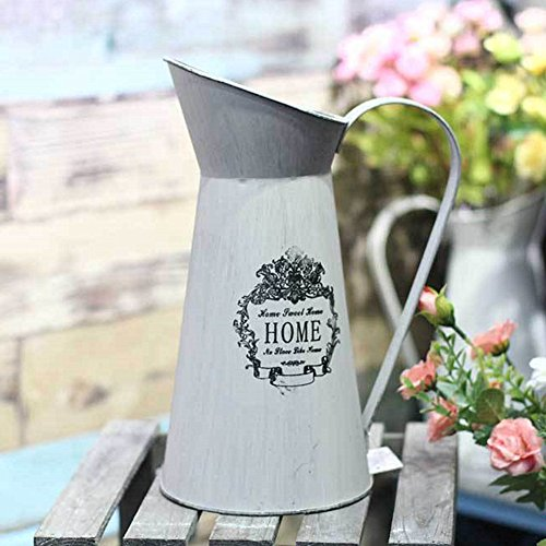 - LANTWOO Rustic Style Metal Pitcher Flower Vase Primitive Jug for Wedding Home Decoration