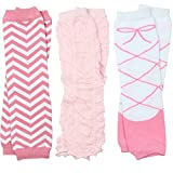 3 Pairs of girls juDanzy baby Leg Warmers for newborn, infant, toddler, child (One Size (10 pounds to 10+ years), Chevron, Rouched, Ballet)