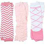 3 Pairs of girls juDanzy baby Leg Warmers for newborn, infant, toddler, child (Newborn (up to 15 pounds), Chevron, Rouched, Ballet)