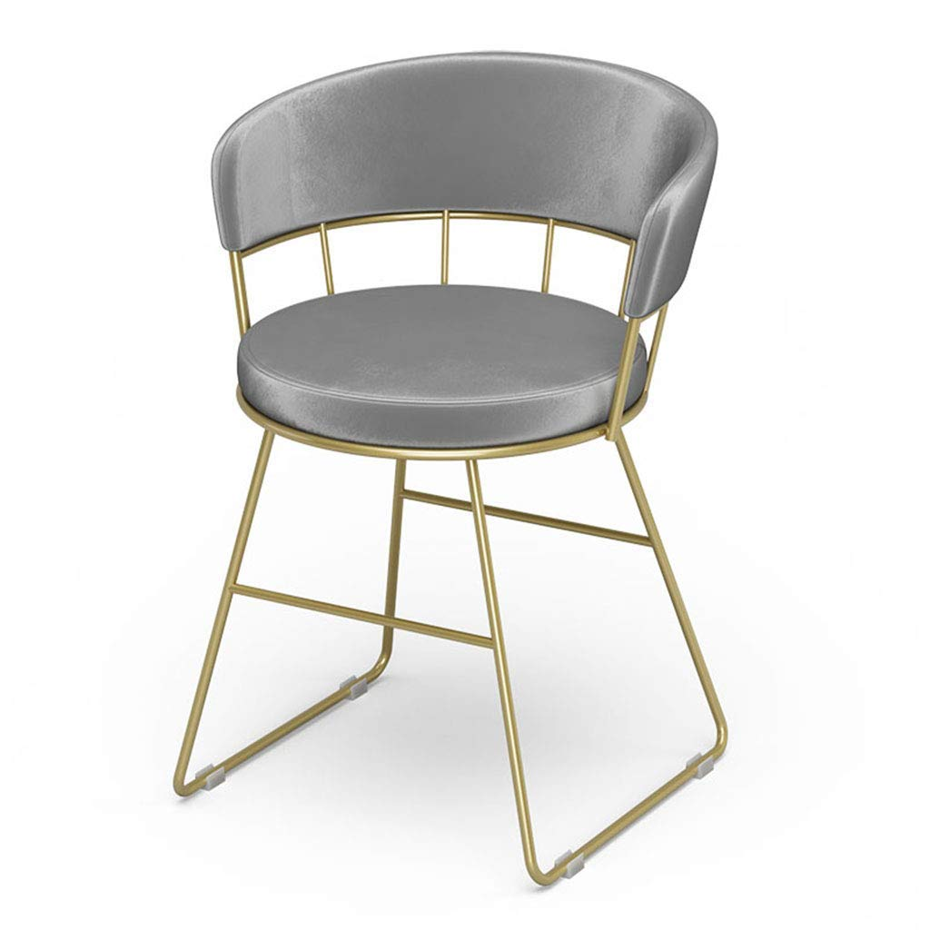 Grey Garden Barstool,Backrest Bar Stool Makeup Tall Stool Leisure Pouffe Artist Chair with Comfortable PU Seat for Kitchen Bistro Pub Breakfast,gold,Height 70cm